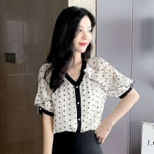 Women's Blouse Polka Dot Print Short Sleeve Chiffon Shirt V-neck Top Ruffle Shirt Blouse Women