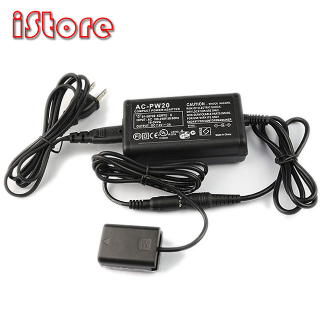 AC PW20 Power Adapter Suit For SONY Camera ILCE 7/6000/6300/7S/7RM2/6500/6400/RX10M234/QX1/5000/5100 Camera using FW50