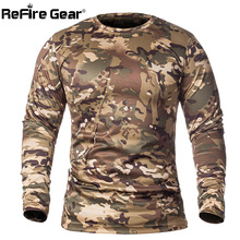 ReFire Gear Spring Long Sleeve Tactical Camouflage T-shirt Men Soldiers Combat Military T Shirt Quick Dry O Neck Camo Army Shirt(China)