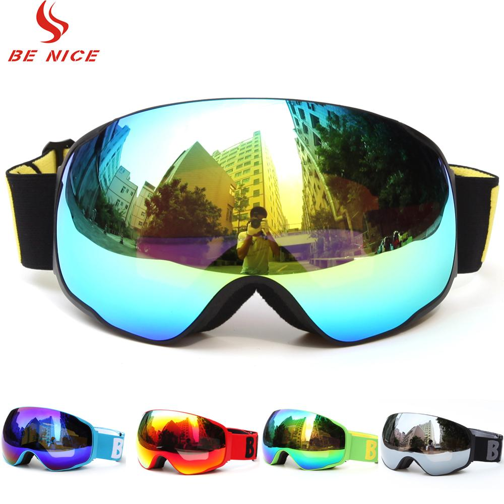 Benice Ski Goggles Snowboarding Skiing Goggles Glasses Mask Big Double Mirror Lenses UV400 Anti-fog Snowmobile Goggles Adult
