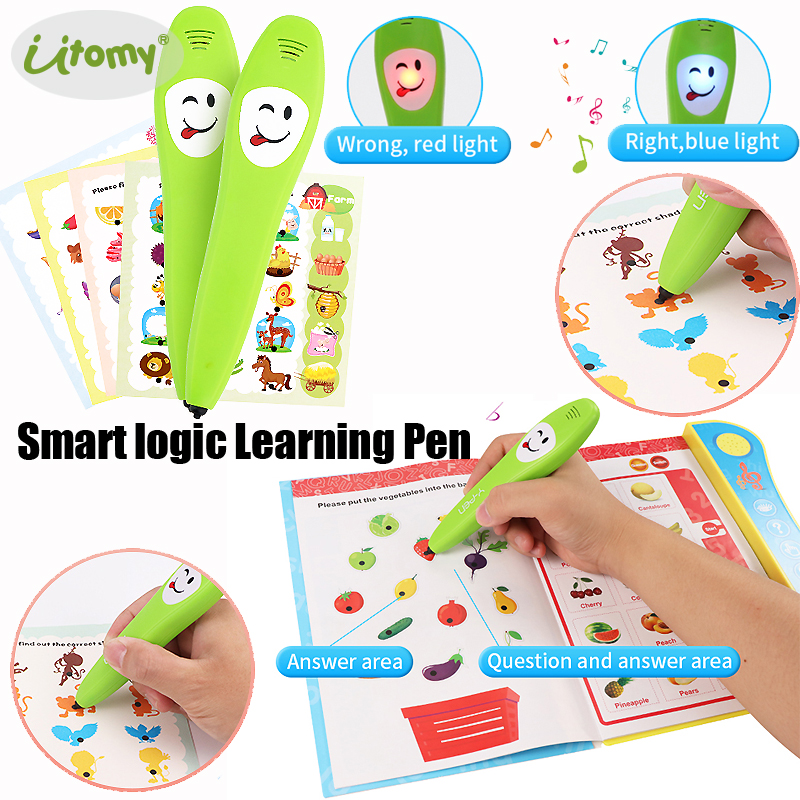 Smart Logic Pen Right-OR-Wrong Electronic Reading Pen With Learning Book,12pcs Study Cards Parent-child Educational Logical Toys