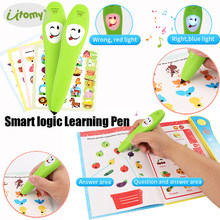 Smart logic Pen Right-OR-Wrong Electronic Reading Pen with Learning book,12pcs Study Cards parent-child Educational Logical Toys(China)