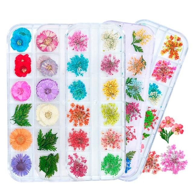 פרחים מיובשים עלה נייל קישוט טבעי פרחוני מדבקת 3D יבש יופי נייל אמנות מדבקות תכשיטי UV ג 'ל פולני מניקור TRFL-1