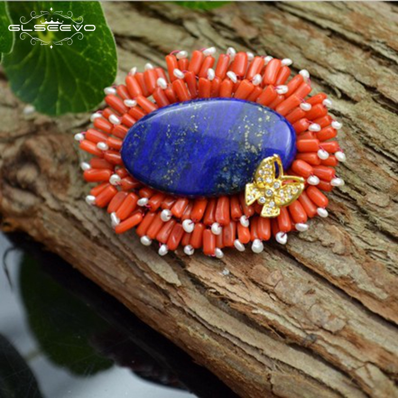 GLSEEVO Natural Fresh Water Pearl Brooch Pins Lapis Lazuli Brooches Women Accessories Dual Use Designer Luxury Jewelry GO0083 glseevo natural lapis lazuli flower brooch pins and brooches for women accessories birthday gifts dual use luxury jewelry go0183