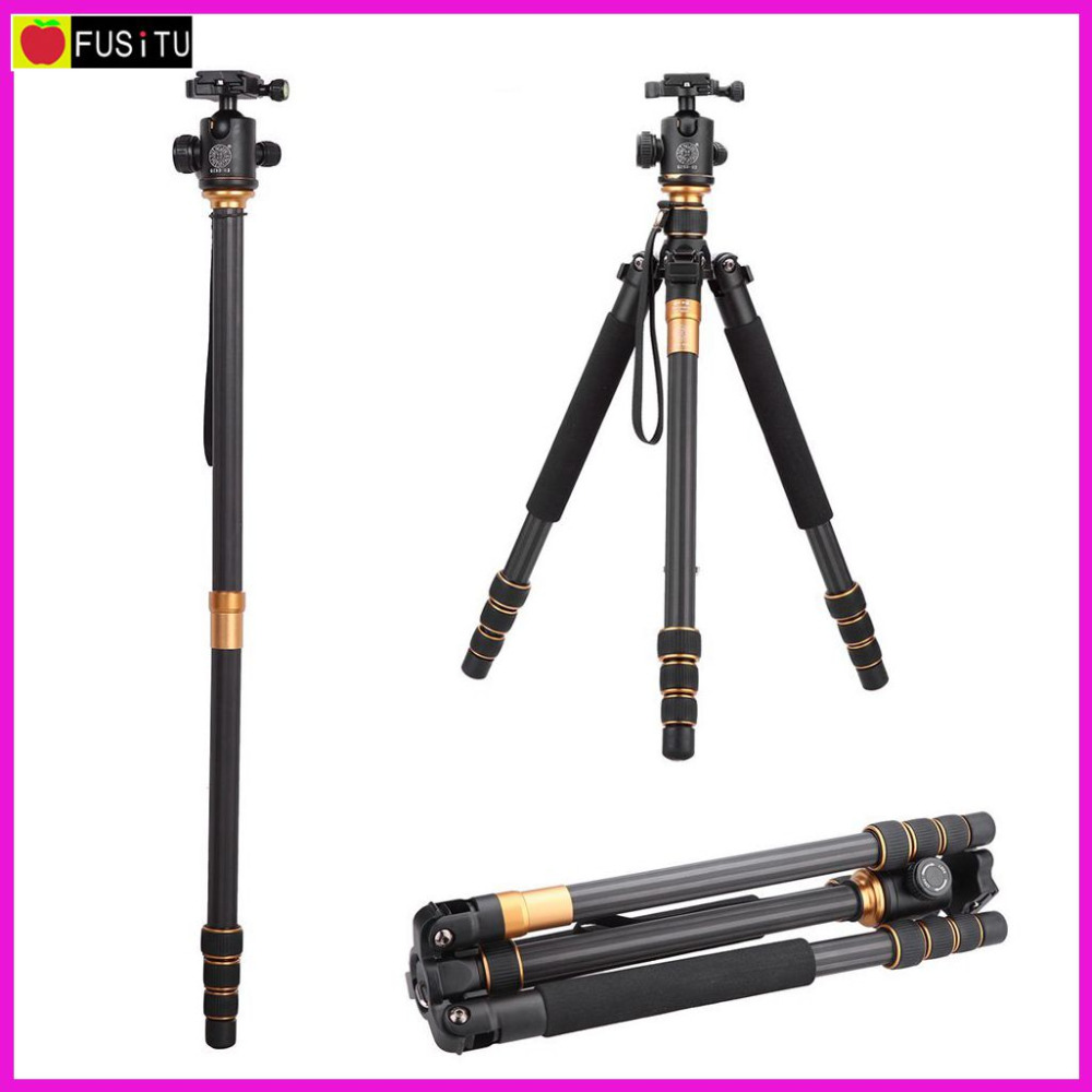 QZSD Q999C Carbon Fiber Pro Video Tripod Monopod Ball Head Portable Detachable Changeable Traveling Tripod for SLR Camera