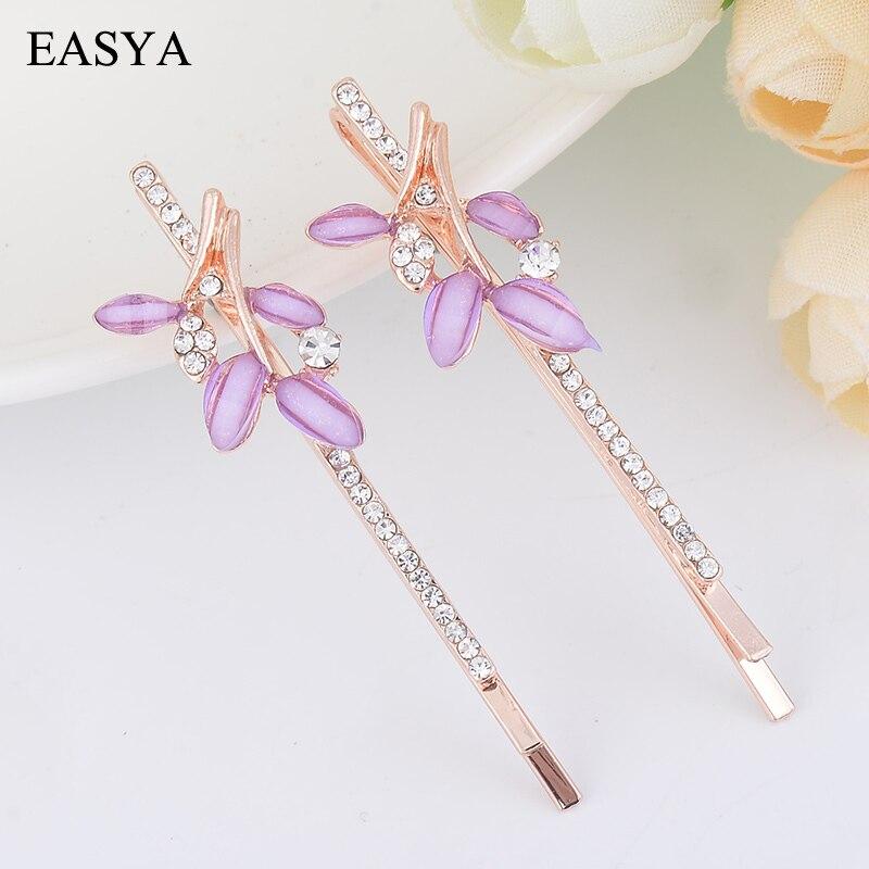 EASYA 3 Colors Rhinestone Leaf Metal Gold hair Pin Delicate Minimalist Crystal Leaf Hair Clip Hair Accessories