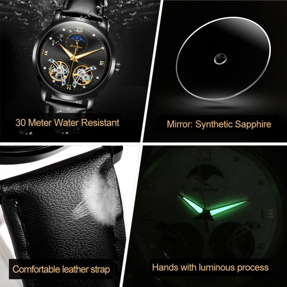 Double Tourbillon Skeleton Watch White Gold Dial Moon phase JSDUN Luxury Business Men Mechanical Wristwatch Automatic Watch 2019 - 5