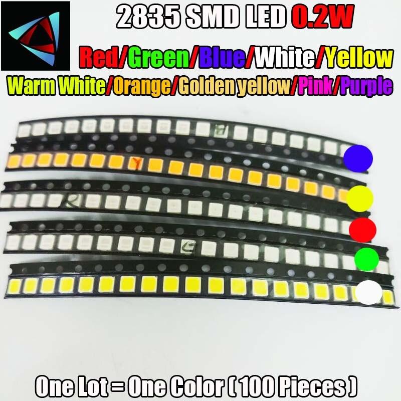 Ультраяркие светодиодные лампы SMD 2835 0,2 Вт, 100 шт., 10 значений, красный/зеленый/ледяной синий/белый/желтый/теплый белый/оранжевый/розовый/фиол...