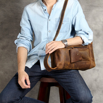 personality Vintage Men Briefcase Genuine Leather Casual Commuter Bag Mens Wearproof Cowhide Work Bags Bolso Hombre Z708