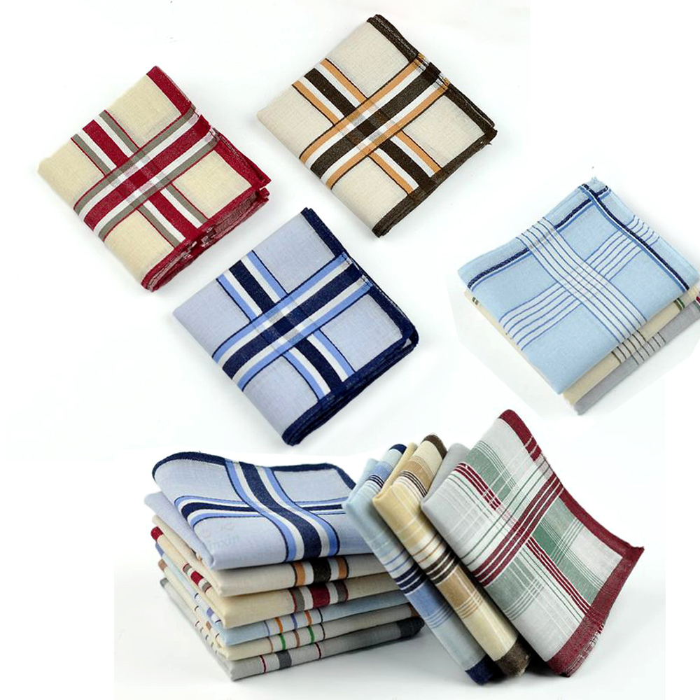 24pcs/lot New Plaid Stripe Unisex Wedding Handkerchiefs Cotton Men Festival Party Handkerchief Male Classic Vintage Pocket Hanky