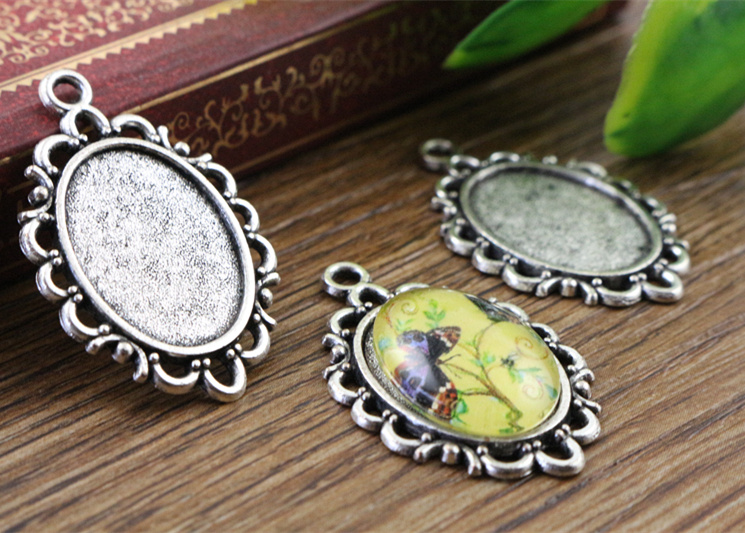 8pcs 13x18mm Inner Size Antique Silver Simple Style Cameo Cabochon Base Setting Charms Pendant necklace findings  (D4-21)8pcs 13x18mm Inner Size Antique Silver Simple Style Cameo Cabochon Base Setting Charms Pendant necklace findings  (D4-21)