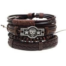 XiongHang Sets MultiLayer Leather Bracelet Jewelry Punk Rock Wood Beads Bracelet Men's Love Gift Classic Retro Bracelet Pulseira