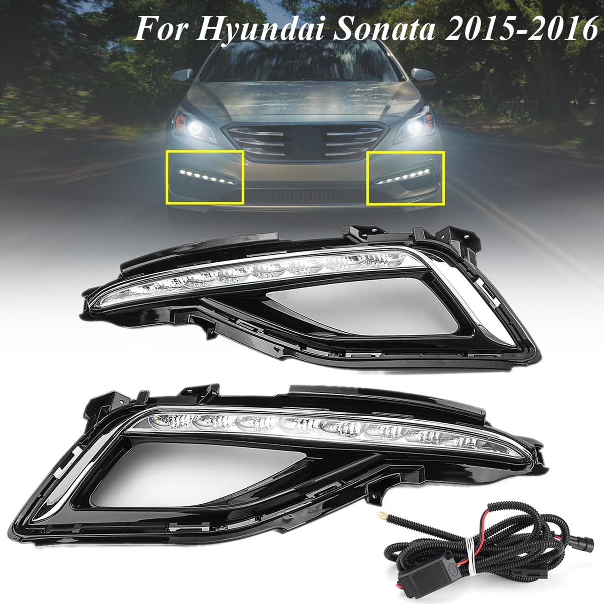 цена на 1 Pair LED White Daytime Running Lights Fog Lamps For Hyundai Sonata 2015-2016