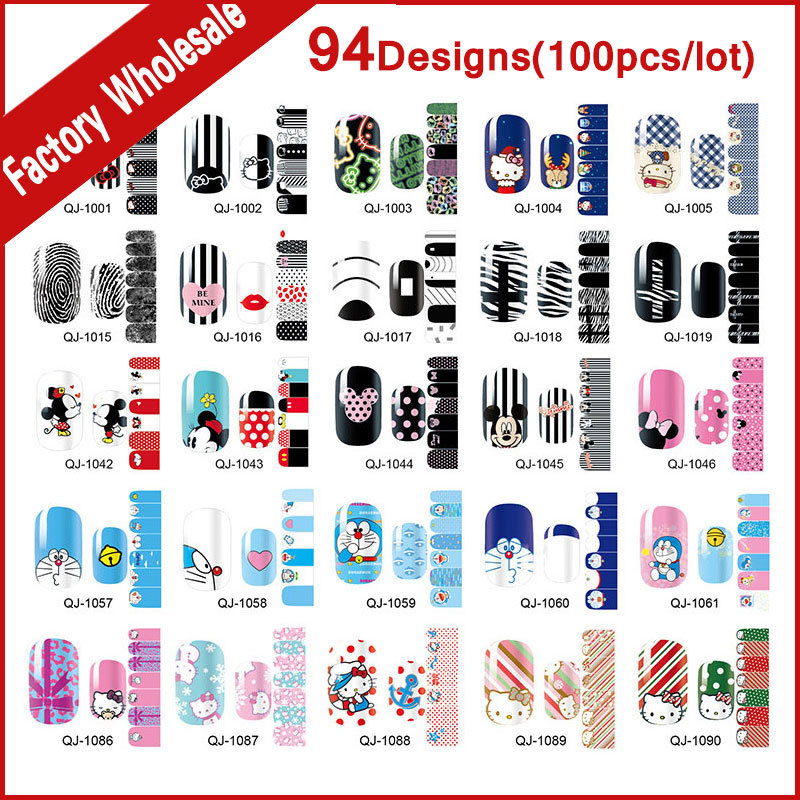 94Designs(100pcs) New Arrive Hot Cartoon Nail Sticker Adhesive Nail Patch Foils Polish Wraps Nail Beauty Art Supplies стоимость