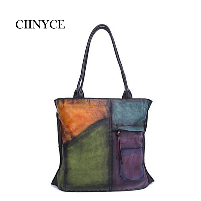 Genuine Vintage Handmade Women Patchwork Handbags Top Handle Panelled Shoulder Large Totes Soft Cow Leather Shopping Bags стоимость