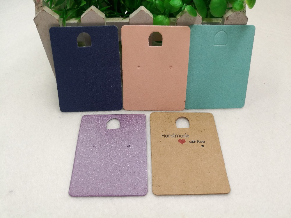 24pcs Kraft Paper 6.5x5cm Handmade With Love Earring Cards, Jewelry Accessory Displays Cards,Earring Packing Paper Card
