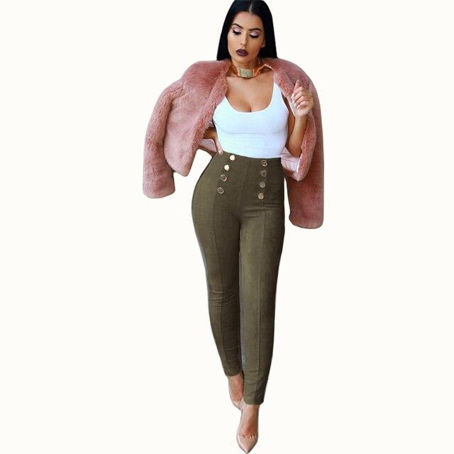 Autumn leggings for women Vintage Pencil Pants Winter High Waist Slim Faux Suede velour Women's pants Buttons red pink trousers