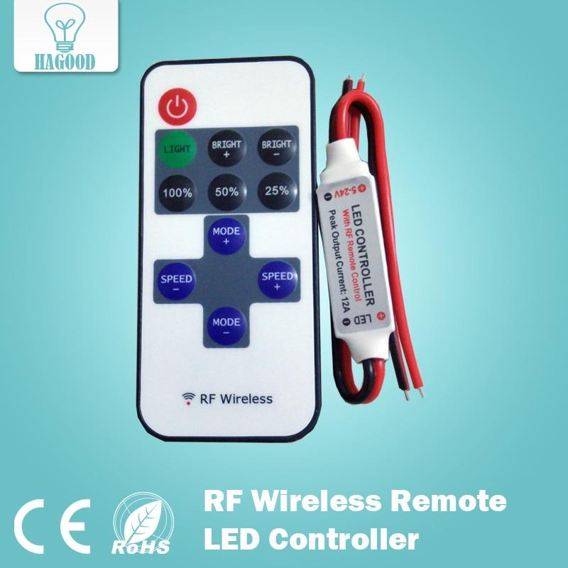 gratis forsendelse 1 st 8 dynamiske effekter 12A DC12V-24V RF Trådløs fjernbetjening LED Controller Dimmer Controllers til LED strip