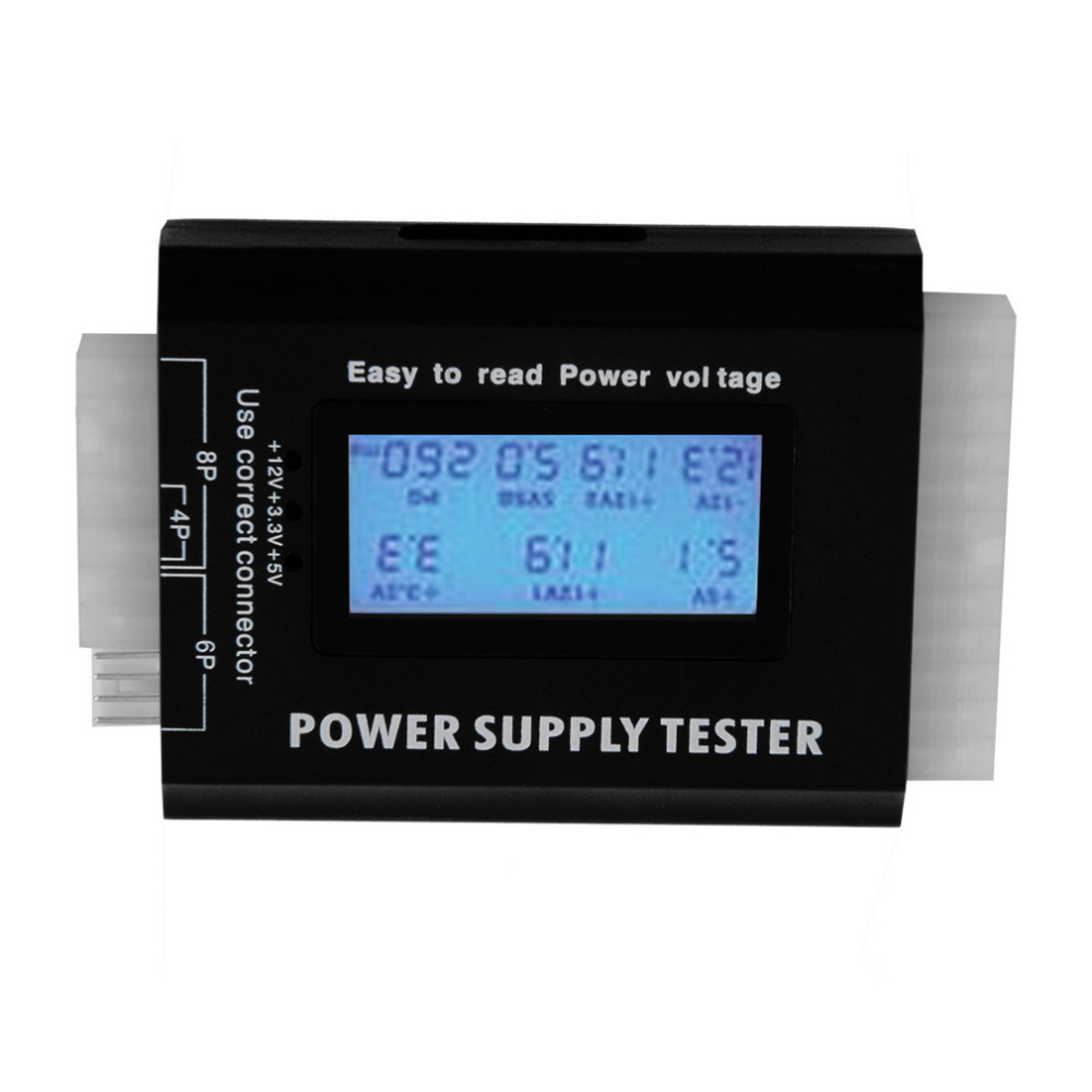 Digital LCD PC Computer PC Power Supply Tester 20/24 Pin SATA HDD Testers Power Supply Tester Checker Black robust voltage test