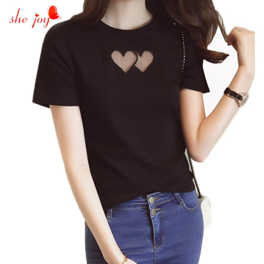 Cute Women Hollow Out Heart Shape Tees Cotton Short Sleeve -5452