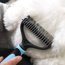 DELE Pet Grooming Comb - Safe Dematting Tool with 2 Sided Undercoat Rake,  Designed for Medium and Long Haired Cats Dogs цена и фото
