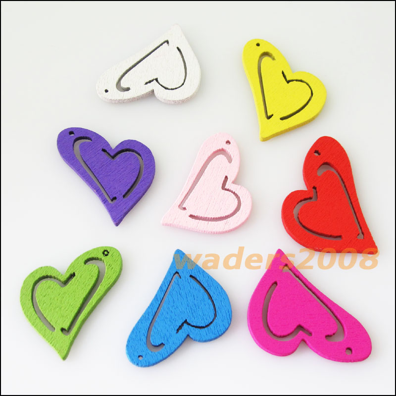 Fashion 40Pcs Mixed Craft Wood Wooden Heart Charms Pendants 23x25mm