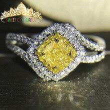 Свадебное желтое Moissanite кольцо с настоящим бриллиантом 18 K 750 золото D Цвет VVS MO-0015 имеют сертификат