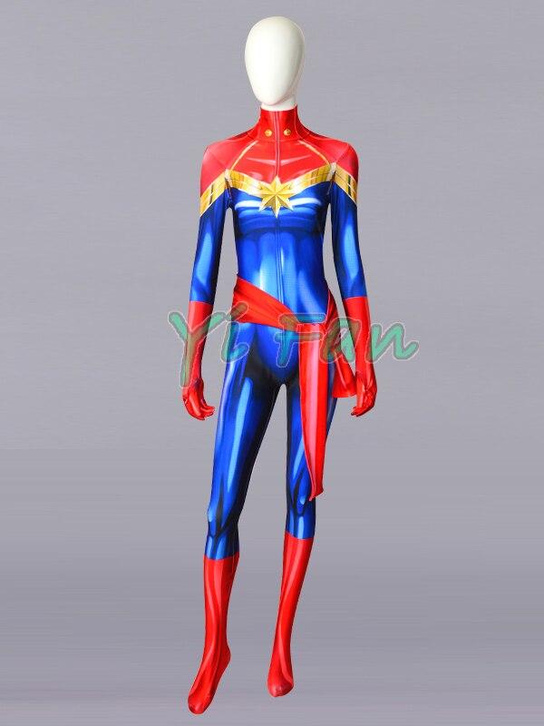 2018 Newest Ms. Marvel Carol Danvers Superhero Costume 3D Print Spandex Zentai Bodysuit Halloween Costumes for Halloween