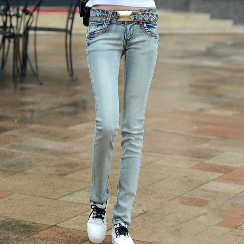 2018 autumn and winter new plus size cotton female women girls elastic skinny low waist pencil pants   jeans   clothing clothes