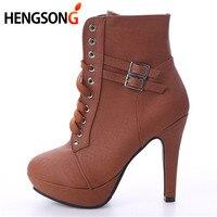 Fashion Women Boots 2017 High Heels Ankle Boots Platform Shoes Brand Women Shoes Autumn Winter Botas