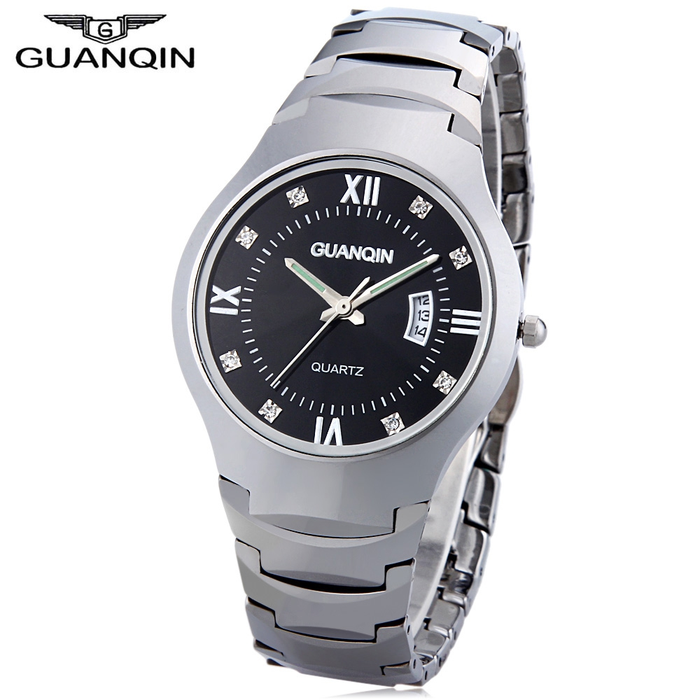 GUANQIN Men Quartz Watch Calendar 10ATM Artificial Diamond Dial Tungsten Steel Band Wristwatch