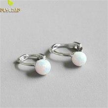 Flyleaf 925 Sterling Silver Earring For Women Opal Stone Femme Hoop Earrings Fashion Simple Natural Gemstone Silver Jewelry цена