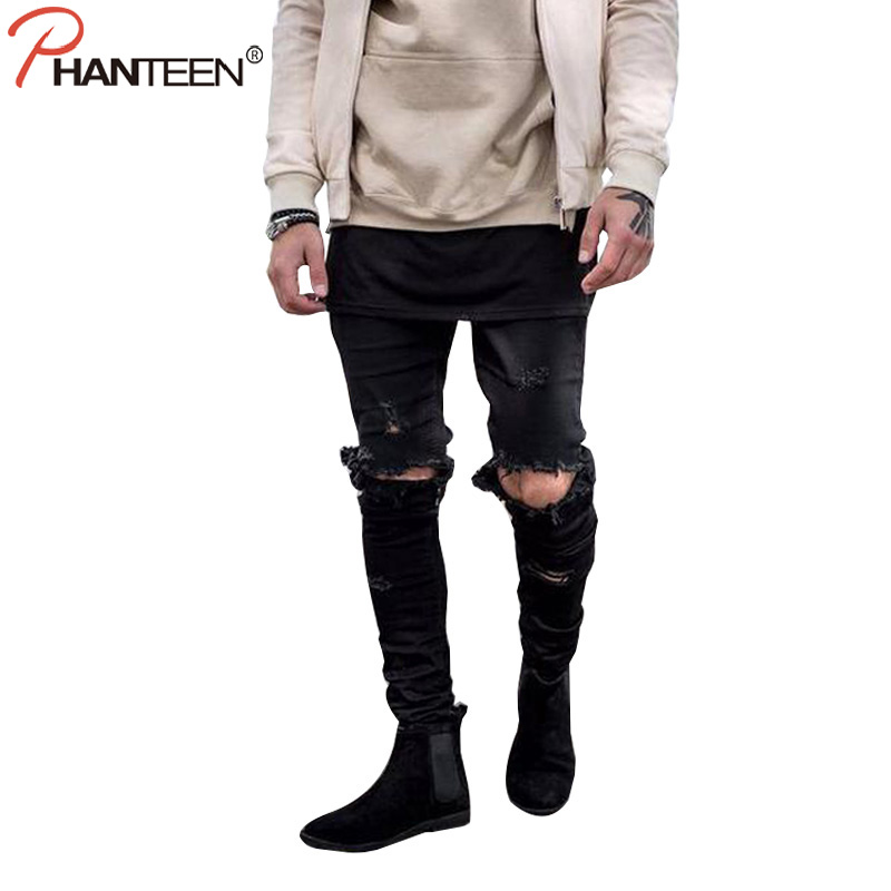 Phanteen Hi-street Man Jeans Slim Fit Pencil Pants Knee Ripped Hole Destroy Washed Casual Youth Jeans Fashion Men Jeans
