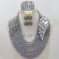 10 Layers Nigerian Traditional Beads African Costume Wedding Jewelry Set Silver Crystal Beads Necklace Set Free Shipping ABF685