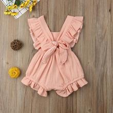2019 6 Color Cute Baby Girl Ruffle Solid Color Romper Jumpsuit Outfits Sunsuit for Newborn Infant Children Clothes Kid Clothing