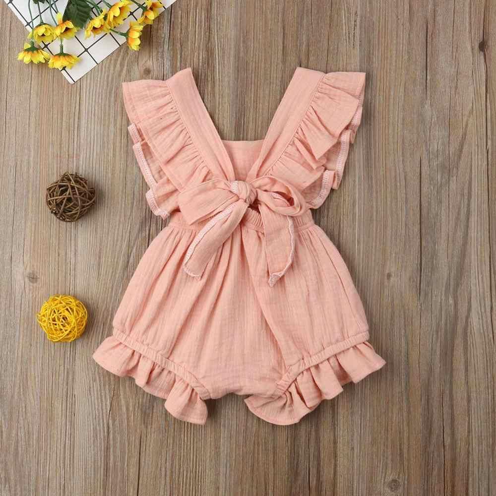 2019 6 kolor słodkie dziecko dziewczyna wzburzyć jednolity kolor Romper kombinezon stroje strój kąpielowy dla noworodka ubrania dla dzieci odzież dziecięca