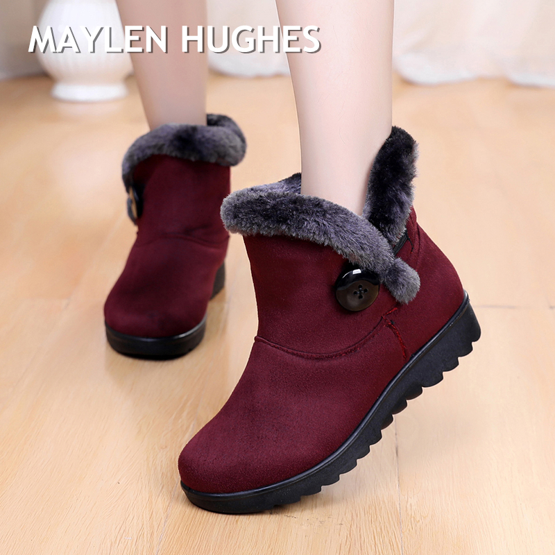 Winter Women Ankle Boots New Fashion Flock Wedge Platform Winter Warm Red Black Snow Boots Shoes Mother Mom Female Plus Size 41Winter Women Ankle Boots New Fashion Flock Wedge Platform Winter Warm Red Black Snow Boots Shoes Mother Mom Female Plus Size 41