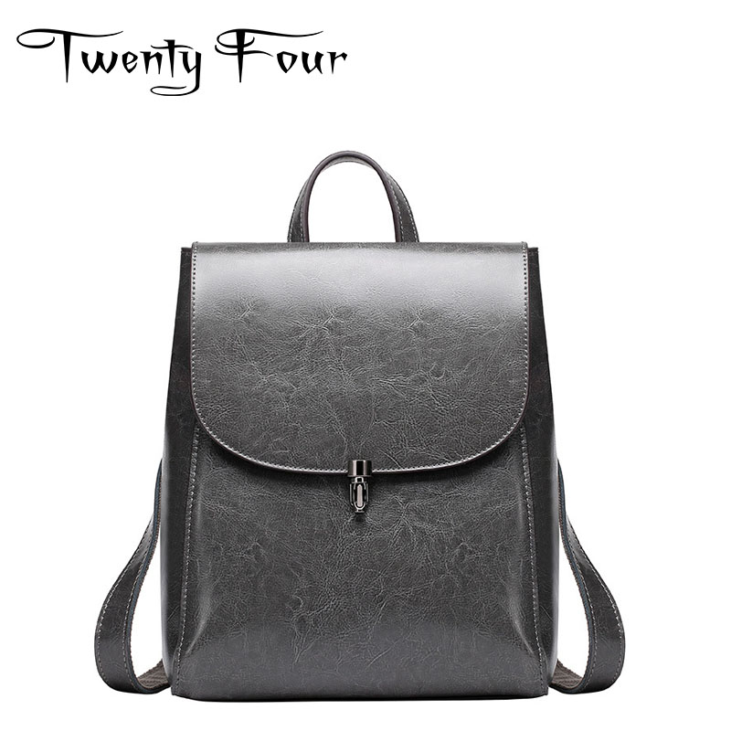 Twenty-four Genuine Leather Female Backpacks With Solid Leather Bags Simple Designer Girls School Bag Ladies Travel Bag Mochilas twenty four women backpacks genuine leather ladies travel backpack for teenagers girls bucket bag vintage real leather mochilas