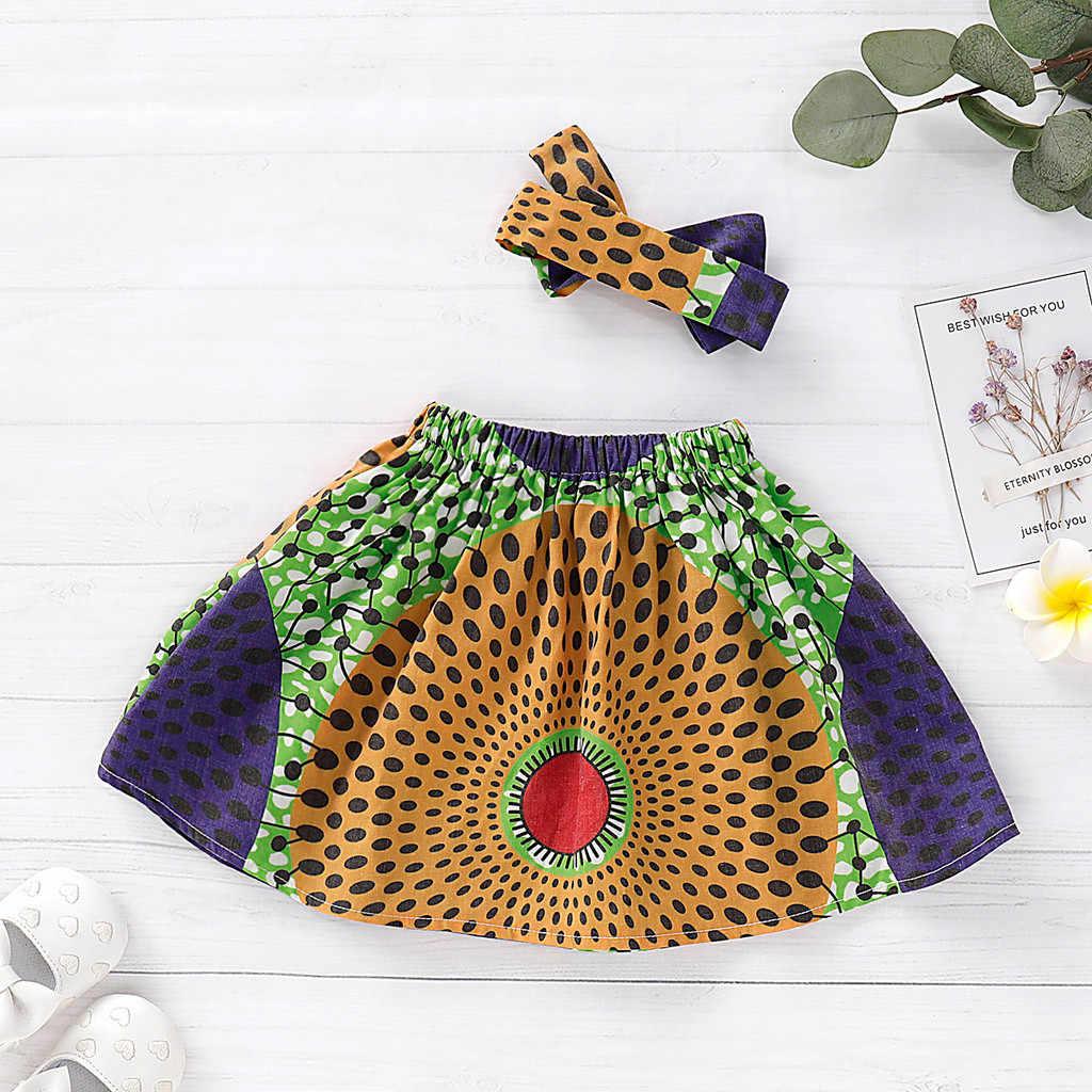 Niño niños bebé niñas faldas falda diadema Dashiki imprimir conjunto de ropa spodniczka dla dziewczynki a tul bimba