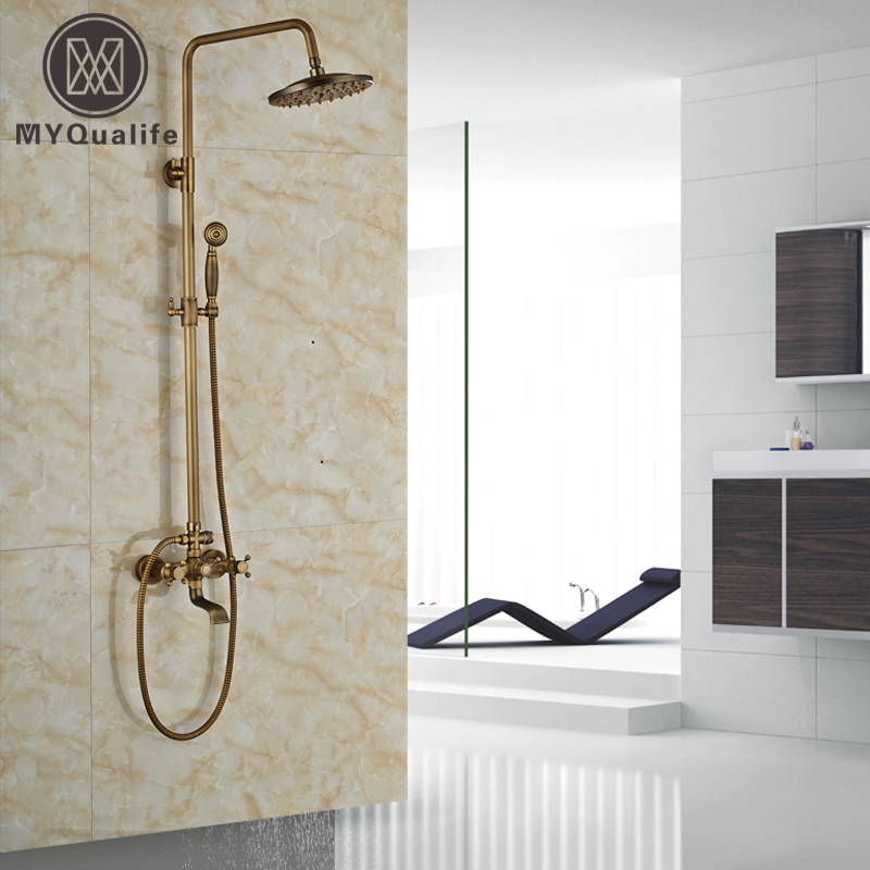Wall Mount 8 Rain Bathroom Shower Mixer Taps Brass Antique Bath Shower Set Faucet Totate Tub Spout bathroom single handle bath shower mixer faucet wall mount 8 rainfall exposed shower mixer height adjustable antique brass