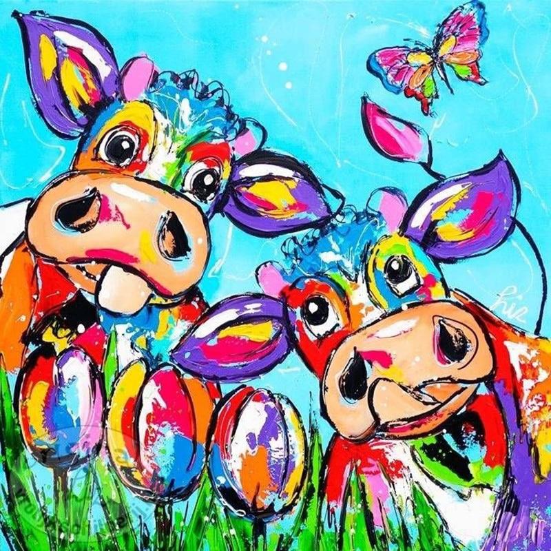 5D Diy diamond painting cross stitch Color cartoon Cow picture diamond embroidery animal diamond mosaic Home Decoration