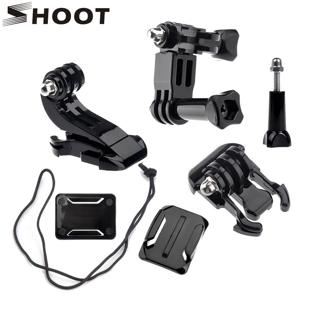 Galleria fotografica SHOOT Action Camera Accessories Set For GoPro Hero 5 3 4 Xiaomi Yi 4K SJCAM SJ4000 Chest Strap Base Mount Go Pro Helmet Kits