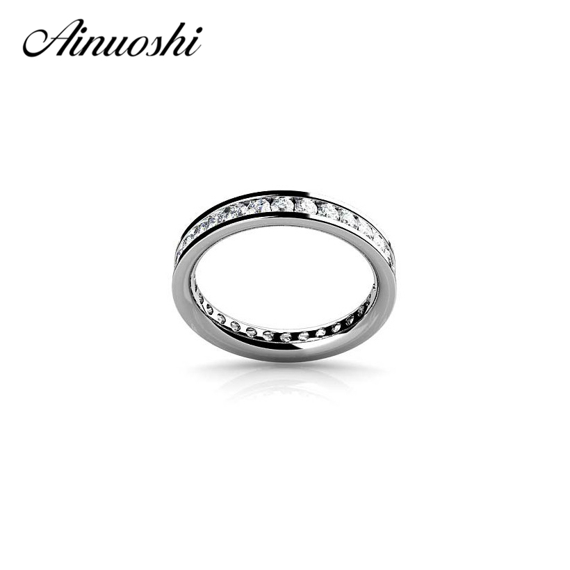 AINOUSHI Classic Round Cut Full Eternity Ring Engagement Wedding Party Rings for Women Wholesale Real 925 Sterling Silver RingsAINOUSHI Classic Round Cut Full Eternity Ring Engagement Wedding Party Rings for Women Wholesale Real 925 Sterling Silver Rings