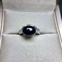 Created Dark Blue Oval Sapphire Ring Women Party Wedding Set Pure 925 Sterling Solid Silver Fine