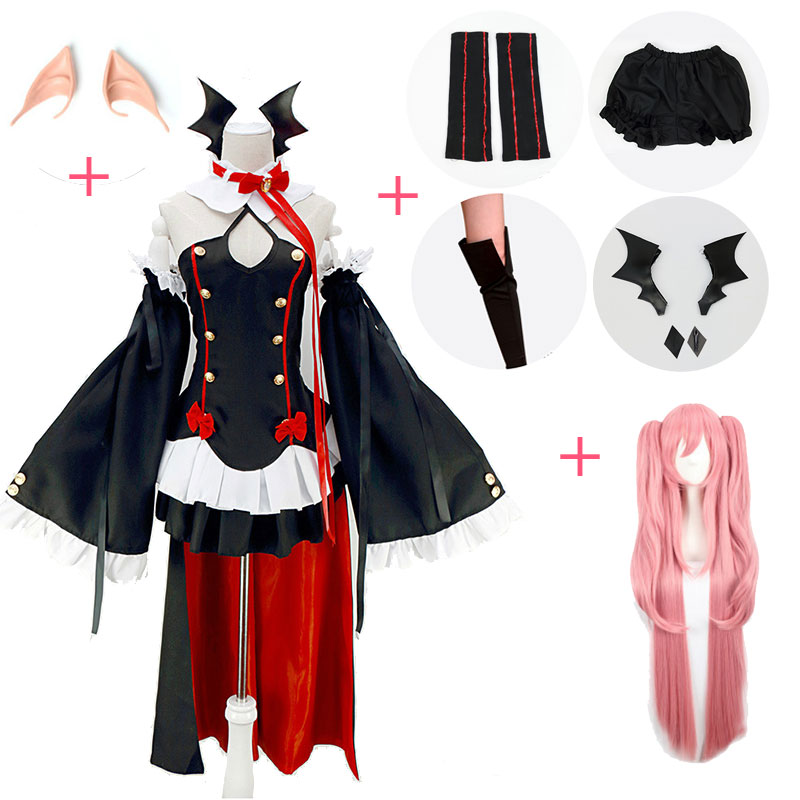 DUOUPA 2019Women's Halloween Angels Ending Blazing Angel Cosplay Vampire Cruluce Percy Cosplay Full Outfit Accessories Wig Shoes