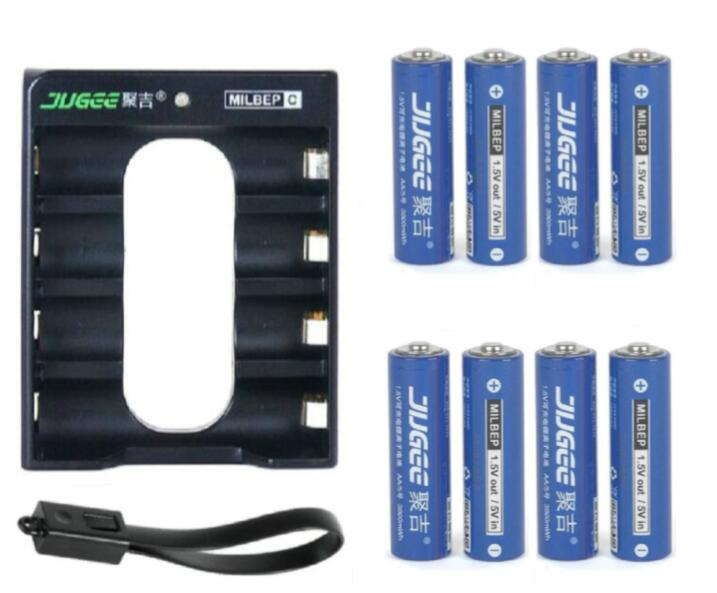 ФОТО SUPER PACK! 8pcs 1.5v 3000mWh AA Li-polymer li-ion polymer lithium rechargeable battery + USB AA LITHIUM Charger !