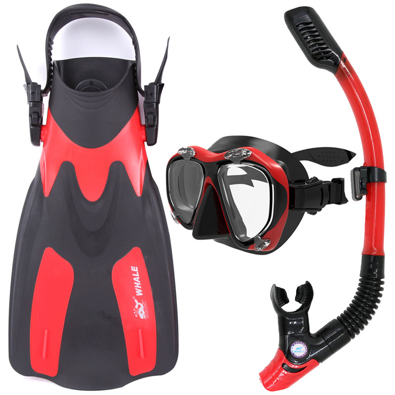 Whale Diving Equipment Swimming Water Sports Scuba Diving Fins + Snorkel + Mask Diving Flippers Set scubapro crystal vu mask for scuba snorkelling diving water sports