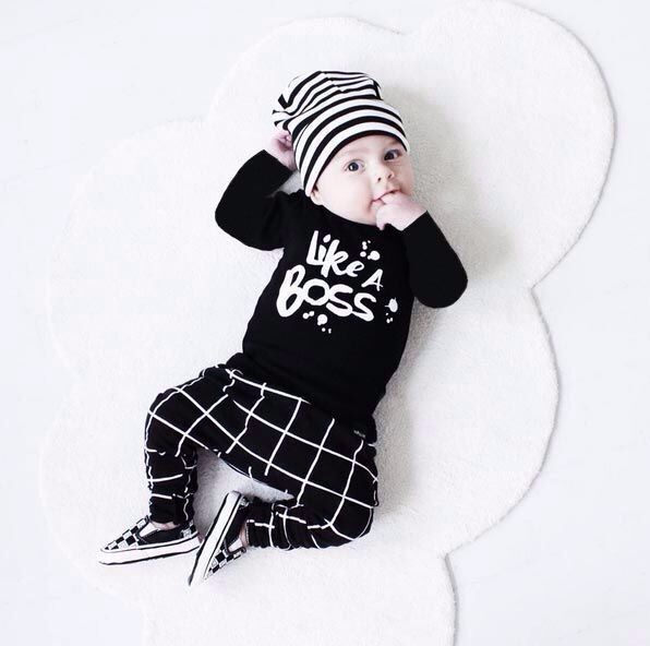 2017 Sping Baby boy clothes Fashion cotton long sleeve letter print LIKE A BOSS T-shirt+pants baby boys clothing set 2pcs suit