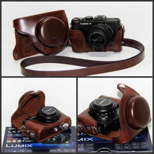 PU Leather Camera Bag Hard <font><b>Case</b></font> Half <font><b>Case</b></font> For Panasonic For <font><b>Lumix</b></font> DMC-<font><b>LX7</b></font> <font><b>LX7</b></font> LX5 LX3 LX-7 LX-5 LX-3 Camera With Shoudler Strap image