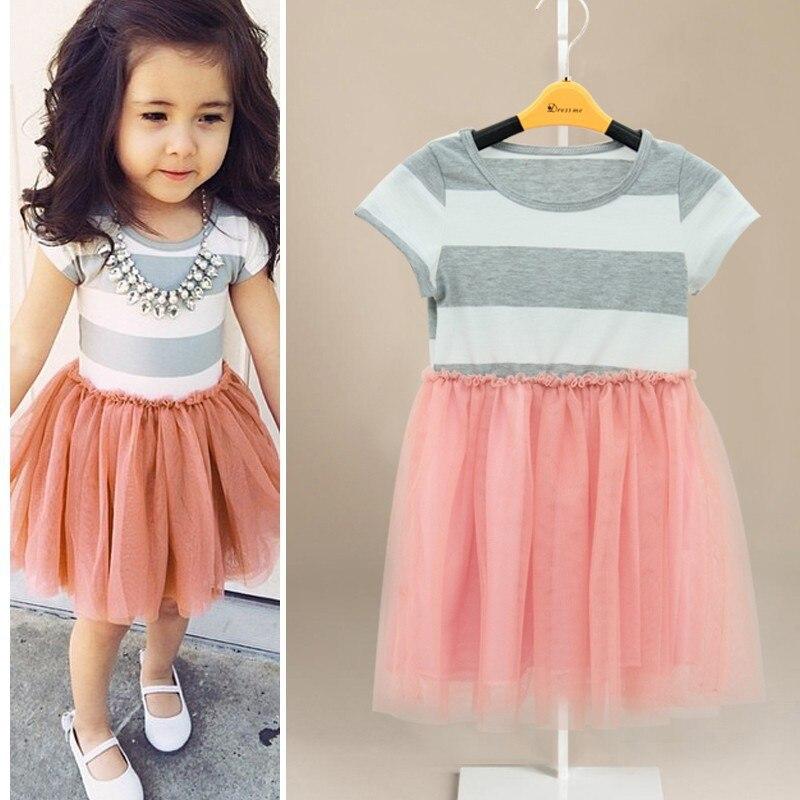 2018 new children clothing Toddler Girls Short Sleeve Tops Mini Dress Striped Princess Pleated Dress 2